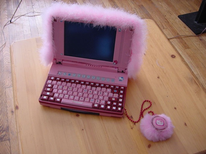 a pink Hello Kitty laptop