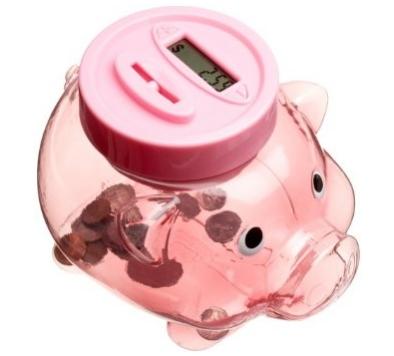 piggy bank counts money