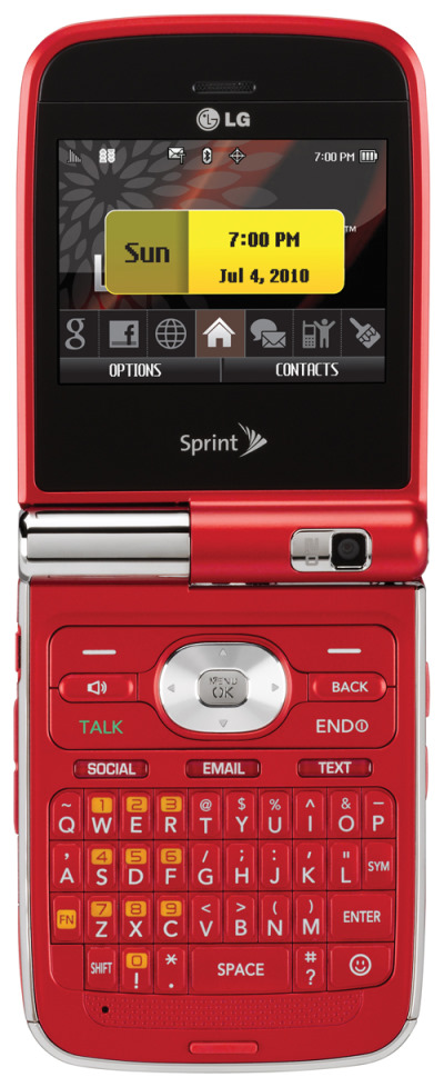 LG Lotus Elite in red Available at Sprint