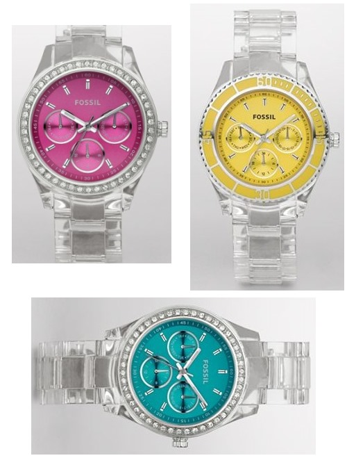 New Fossil Ladies Watches With Clear Straps