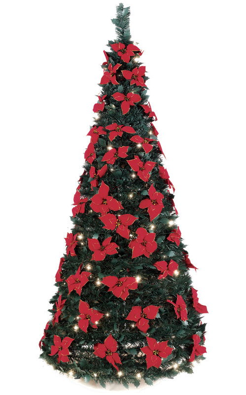 72 inch Pop Up Christmas Tree Complete With Lights and Poinsettias