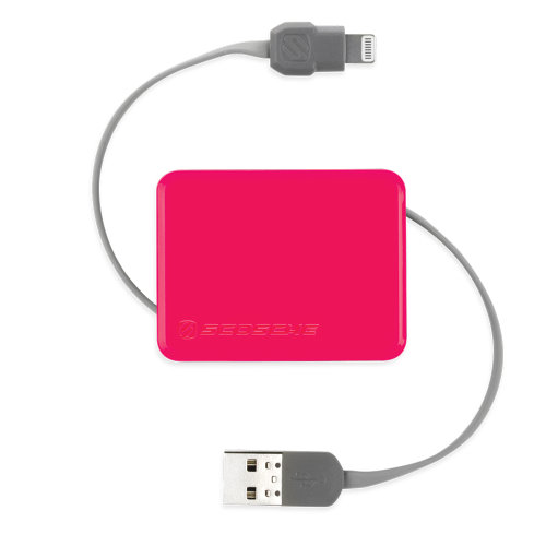 Scosche boltBOX Retractable Charge Sync Cable Pink breast cancer (2)